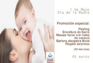 Promoción especial do día da nai. 50 minutos: Peeling, envoltura de barro, masaje facial con baba de caracol, bañera cleopatra floral más regalo sorpresa, sólo 45 euros
