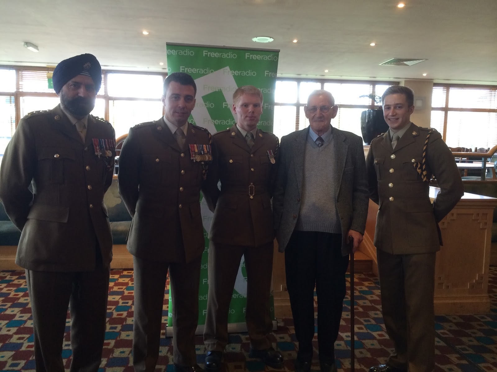 159 Supply Regiment of the British Army's Commanding Officer, Welfar Officer, Troop Commander, LCpl Hoskins and his grandfather Mr Hoskins at the Pride of Coventry awards ceremony 2014.