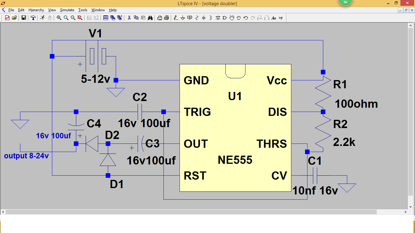 555 Timer Projects Voltage Doubler Using Ne555 Project4 Oscillator Circuits This A Project Chip Circuit Above That I Drew Shows An Which Would Boost The Input And Double
