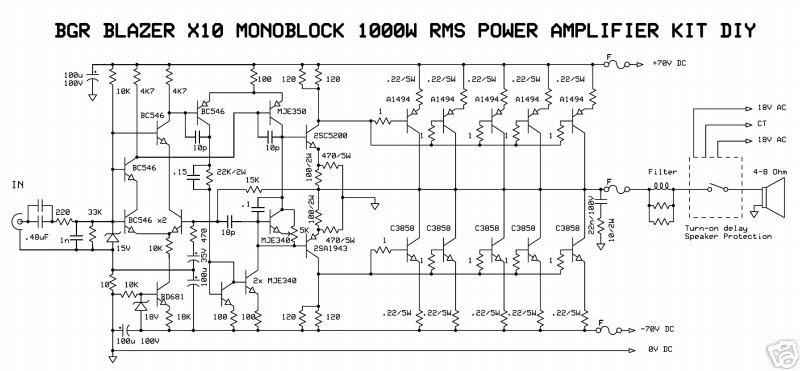 1000Watt Audio Power Amplifier Blazer Circuit Wiring