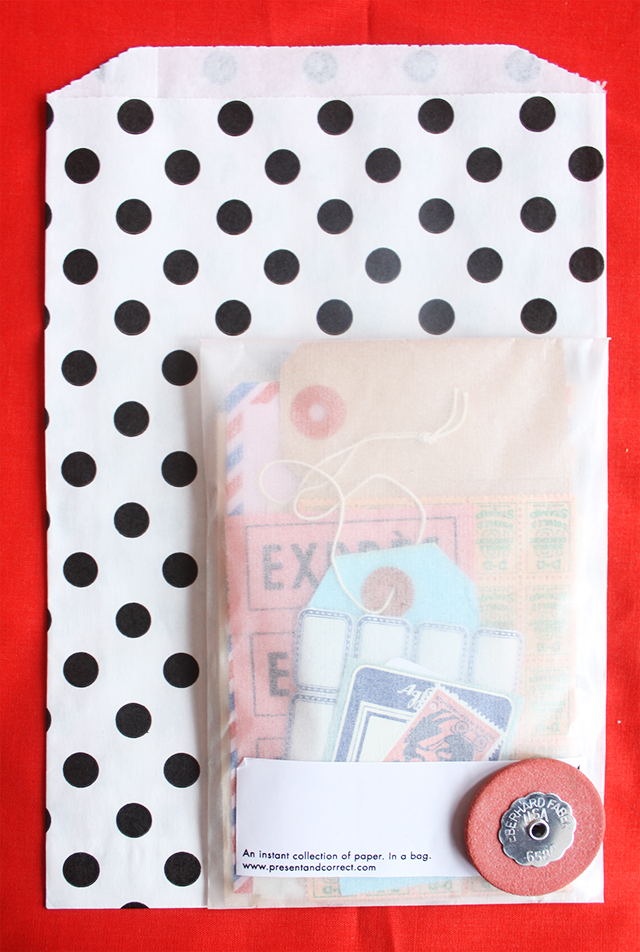 national stationery week - polka dot bag and paper bag from present and correct