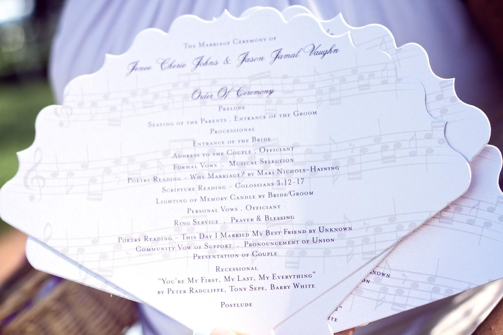 Wedding Fan Programs • Music Theme • Wedding Programs Baltimore ...