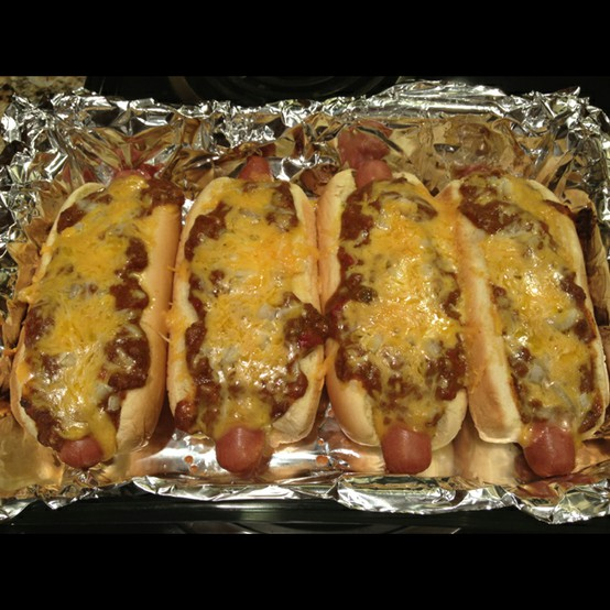 Oven Baked Chili Hot Dogs