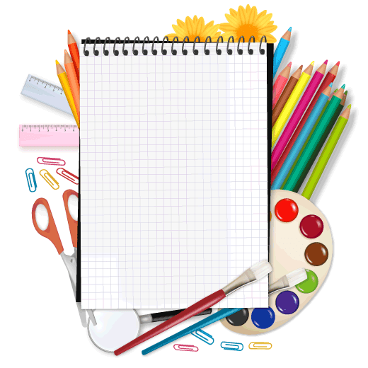 Set escolar con marco para texto - vector