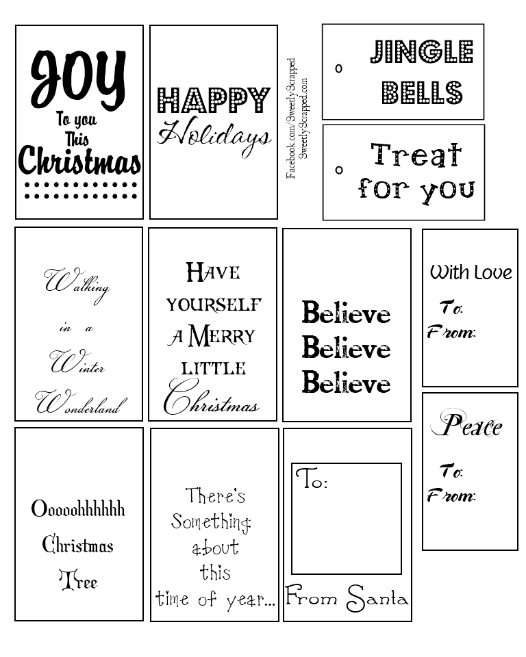 Printable Christmas Tags Black And White | New Calendar Template Site