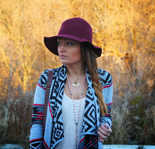H&M hat, aztec print sweater, boho look