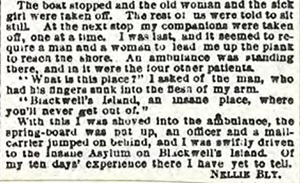 Nellie Bly, New York World, 9 oct 1887, Behind asylum bars, extrait