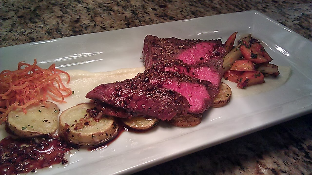 coriander crusted flank steak, celery root puree, duck fat fried ...
