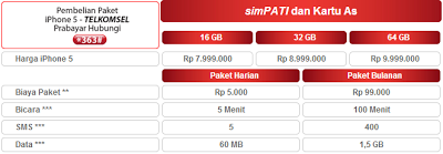 iPhone 5 Bundle harga Telkomsel Simpati As