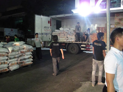 Loading trucks at the Red Cross