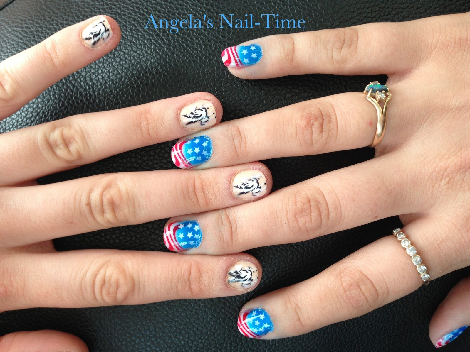 Angelas Nail Time American Flag And Pegasus Airbrush Nail Art
