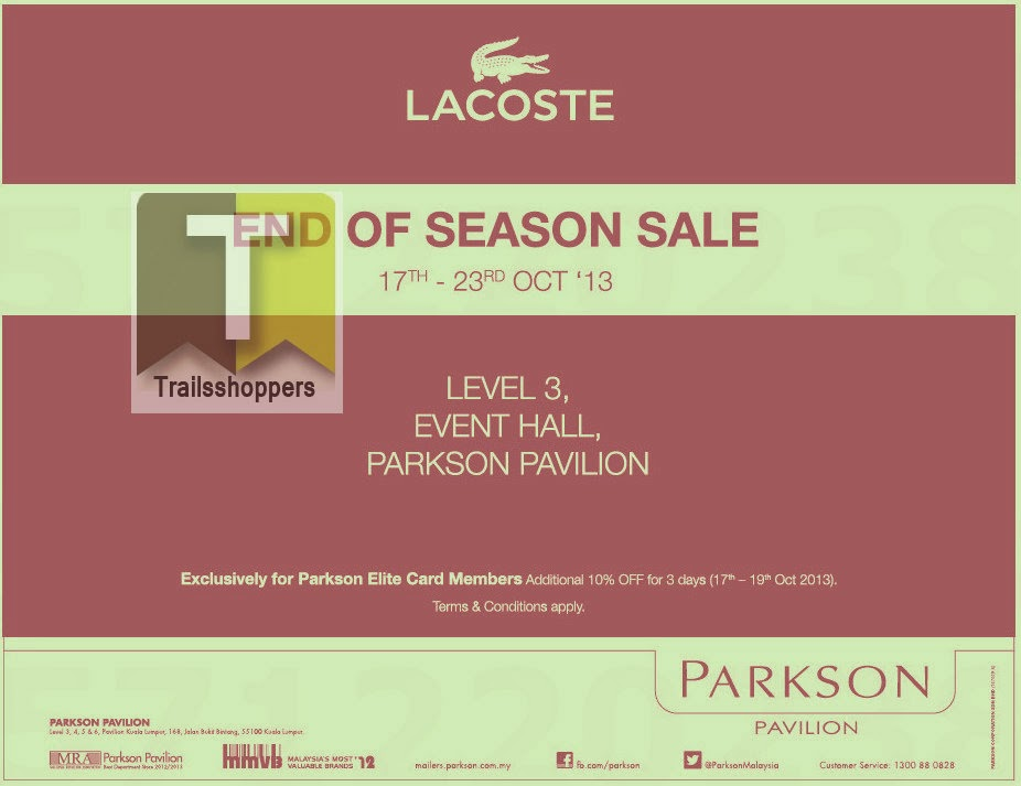 Lacoste End of Season Sale 2013