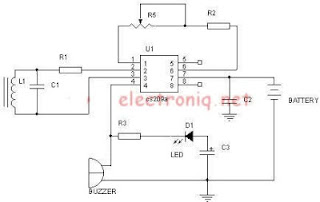 Metal detector schematic using cs209a the detector is a single 100uh coil the ic has an integral oscillator the choke forms part of an external lc circuit its inductance being changed by the ccuart Gallery