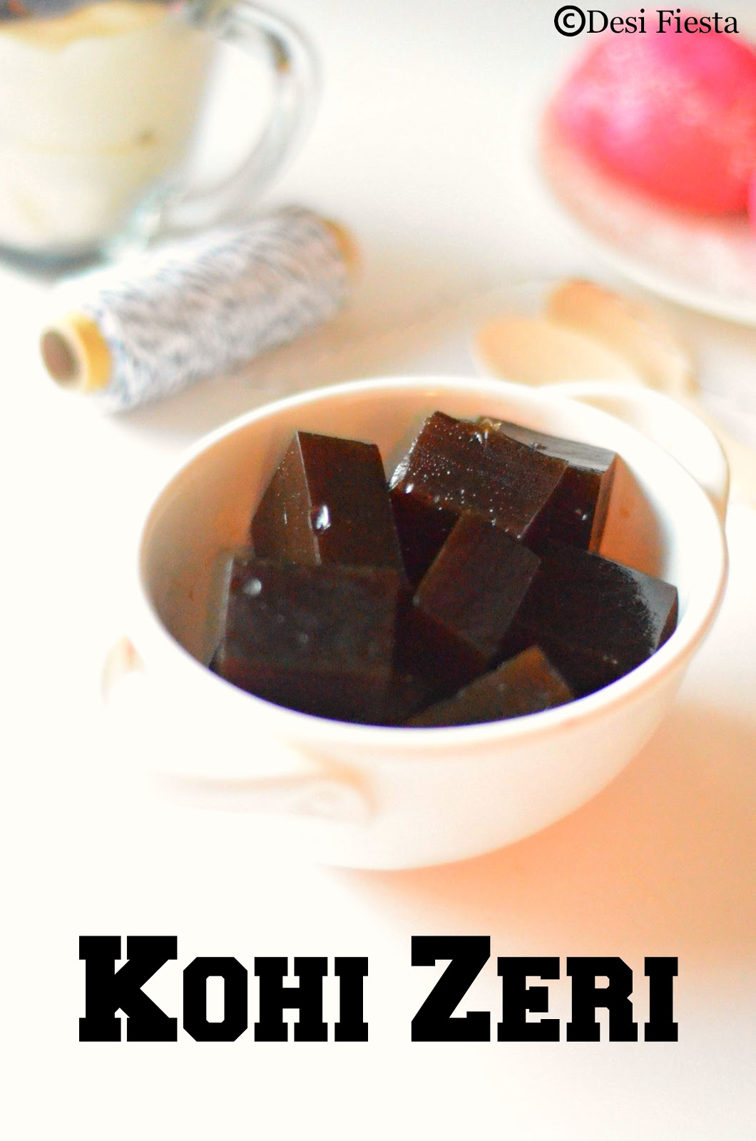 Japanese coffee jelly with whipped cream