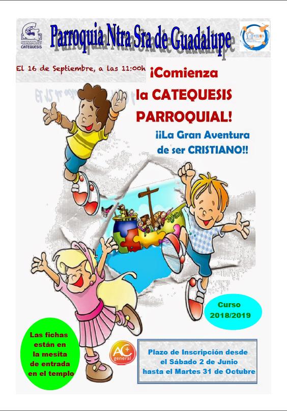 Inscripción Catequesis 18 - 19 en Ntra. Sra. de Guadalupe. Toscal-Longuera. Los Realejos.