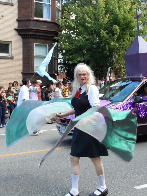 Flag twirler Vancouver Pride Parade