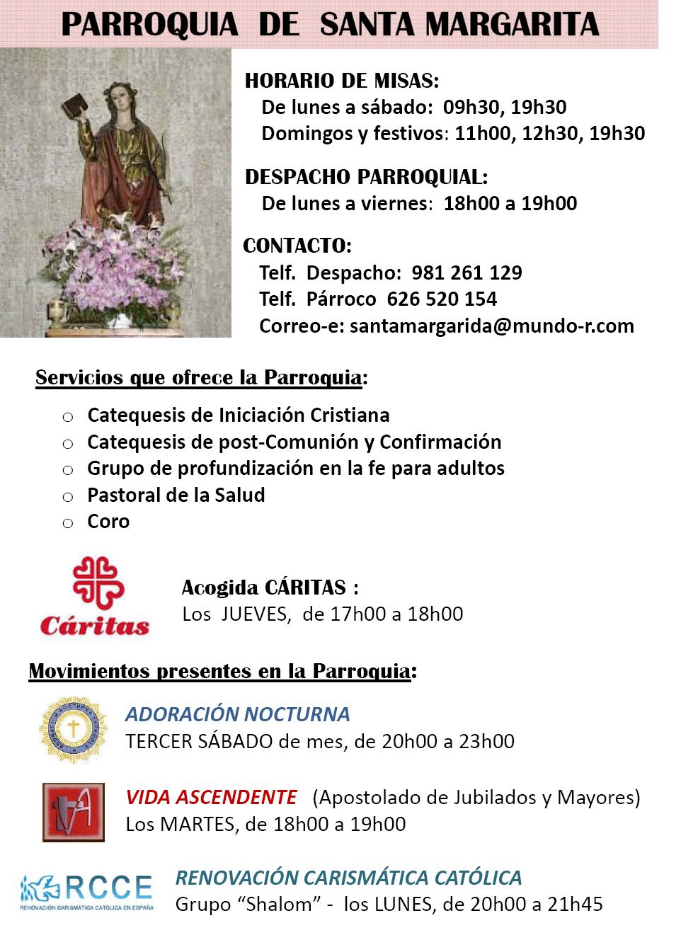 Información Parroquia Santa Margarita