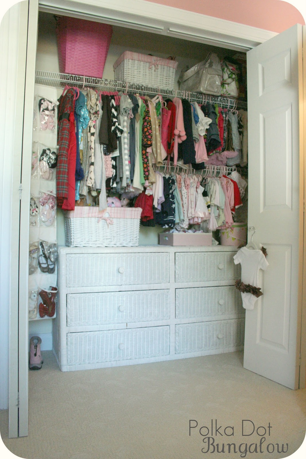 ... On The Changing Station And For Miss B To Help Me Get Items :) All Of  Her Hanging Items Are On The Lower Right Shelf In The Closet, Organized By  Size.