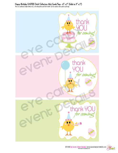 mini easter birthday cards, easter birthday tags, easter birthday party printables