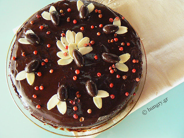 Chocolate Torte Cake with Pink Pepper