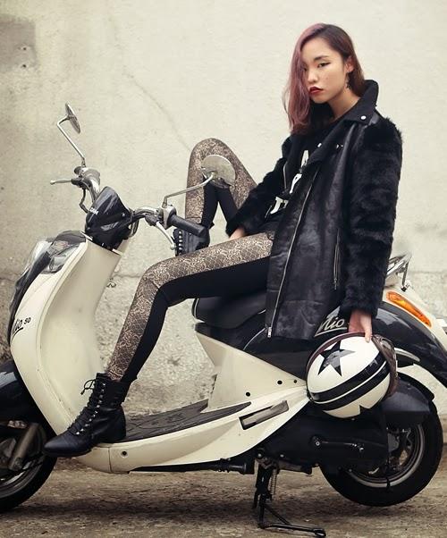 Shine Black Fur Sleeves Mouton Jacket