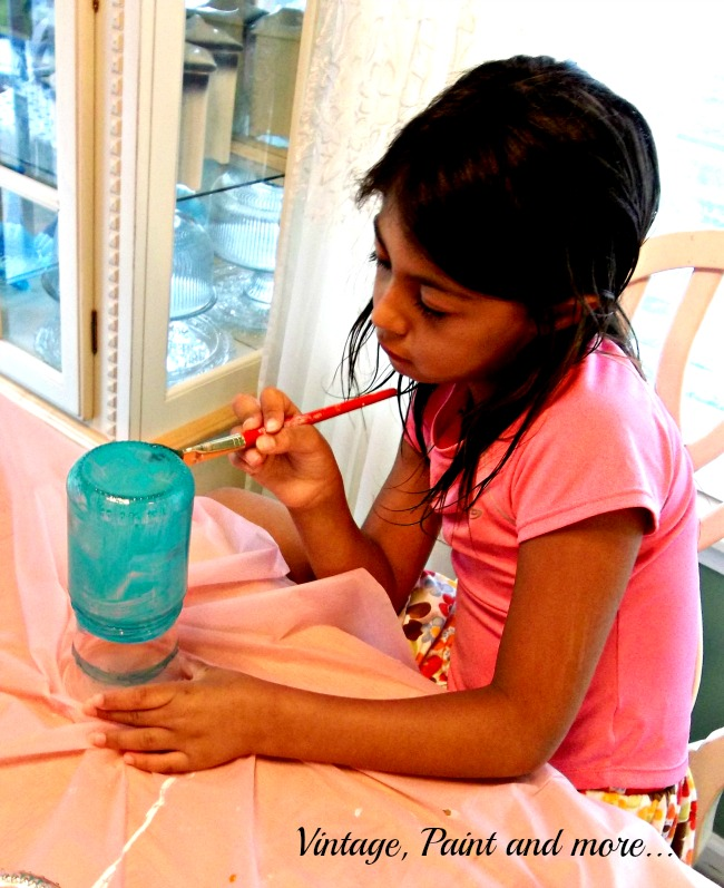 Vintage, Paint and more... painting glass with mod podge and food coloring