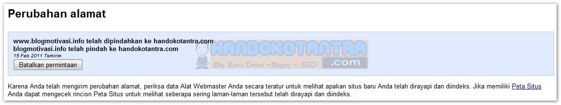 Perubahan alamat domain sukses
