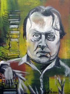 Painting of Christopher Hitchens by Allison Bruns