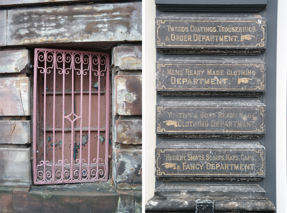 Old grates and department store ghost signs