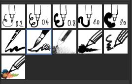 Serie dos pinceis para desenho no Mypaint.