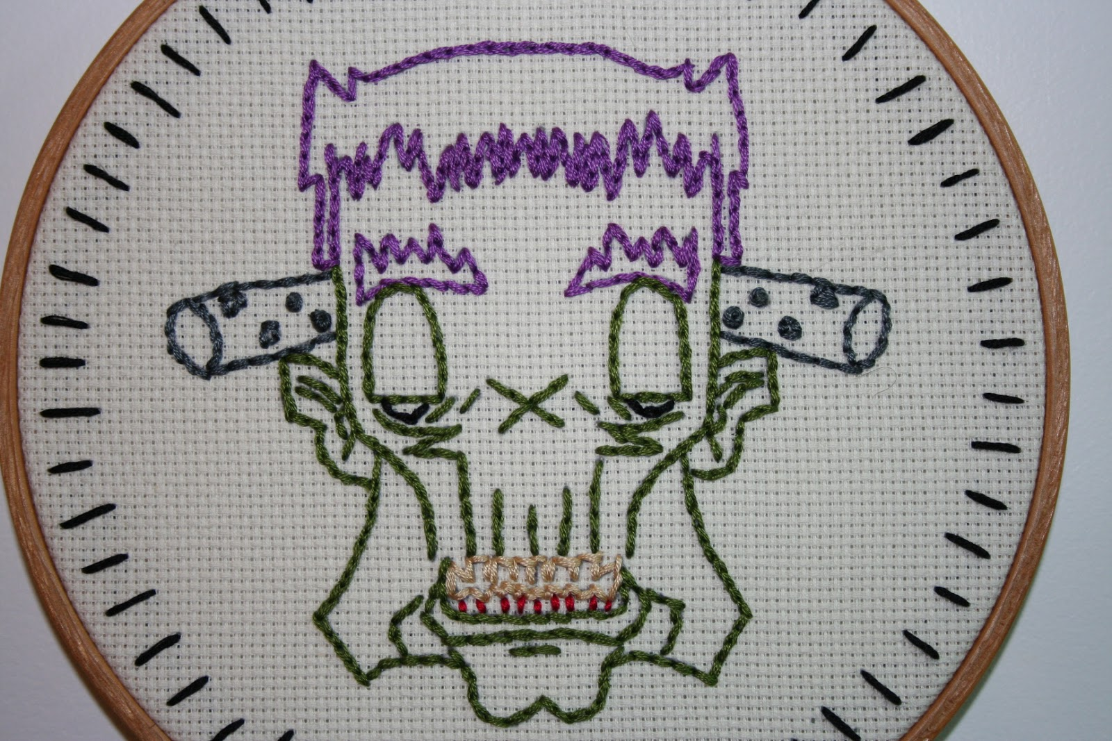 halloween frankenstein embroidery pattern