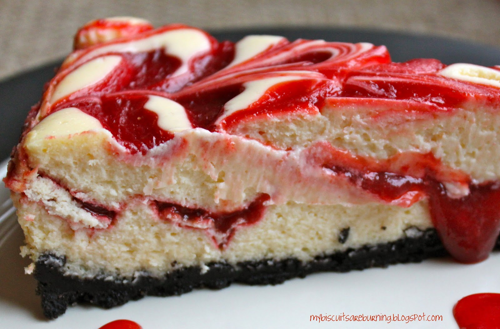 My Biscuits are Burning: Cherry Swirled Cheesecake