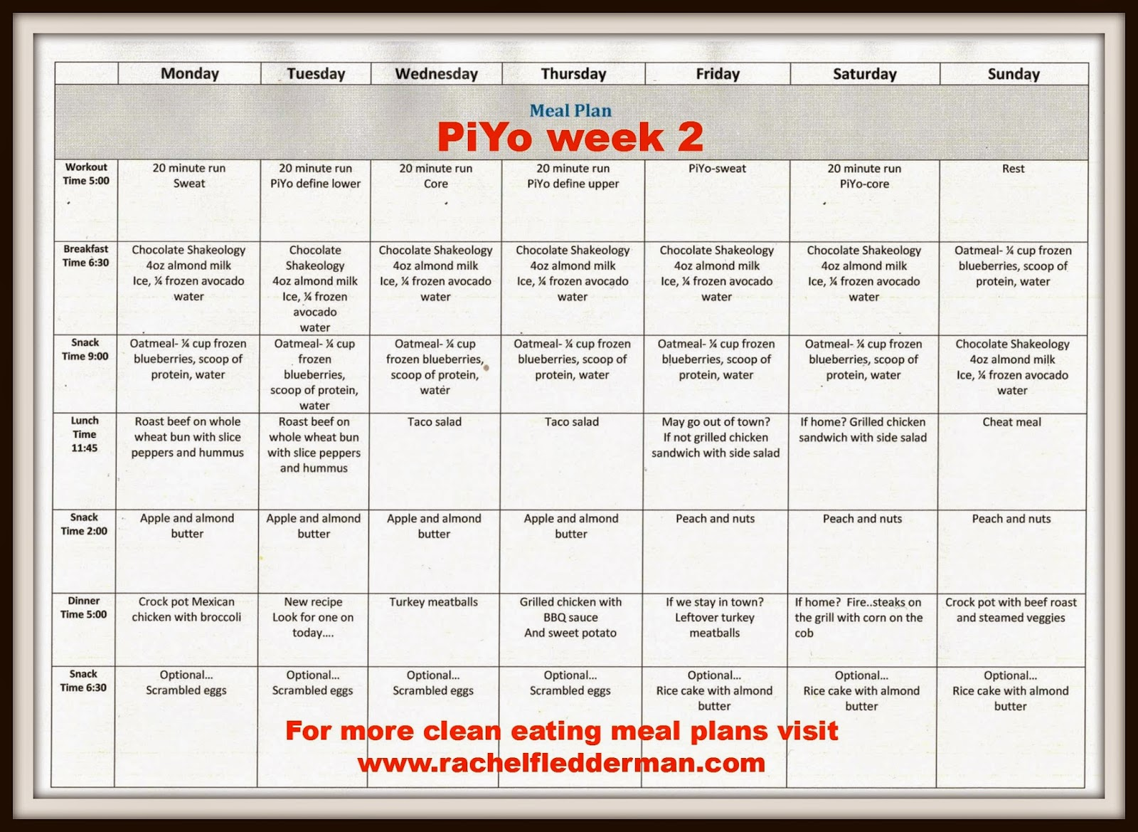 PiYo week 2 meal plan