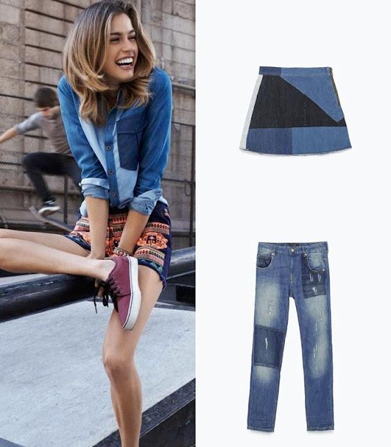 Peças moda tendencia verão 2015 Calças e saia patchork Zara