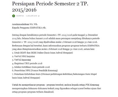 Program SIMPATIKA Semester 2 Tahun Ajaran 2015/2016