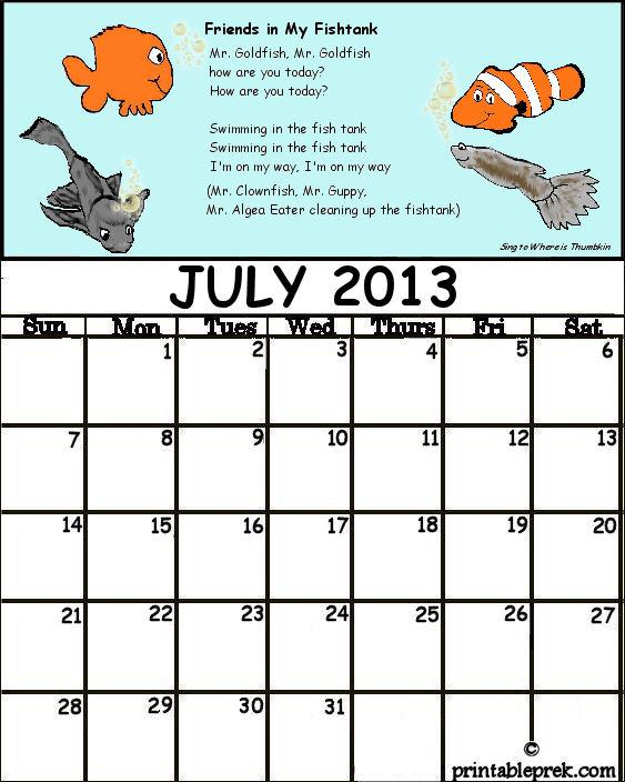 Pre K Calendar Printables : Preschool teacher s resource july calendar for