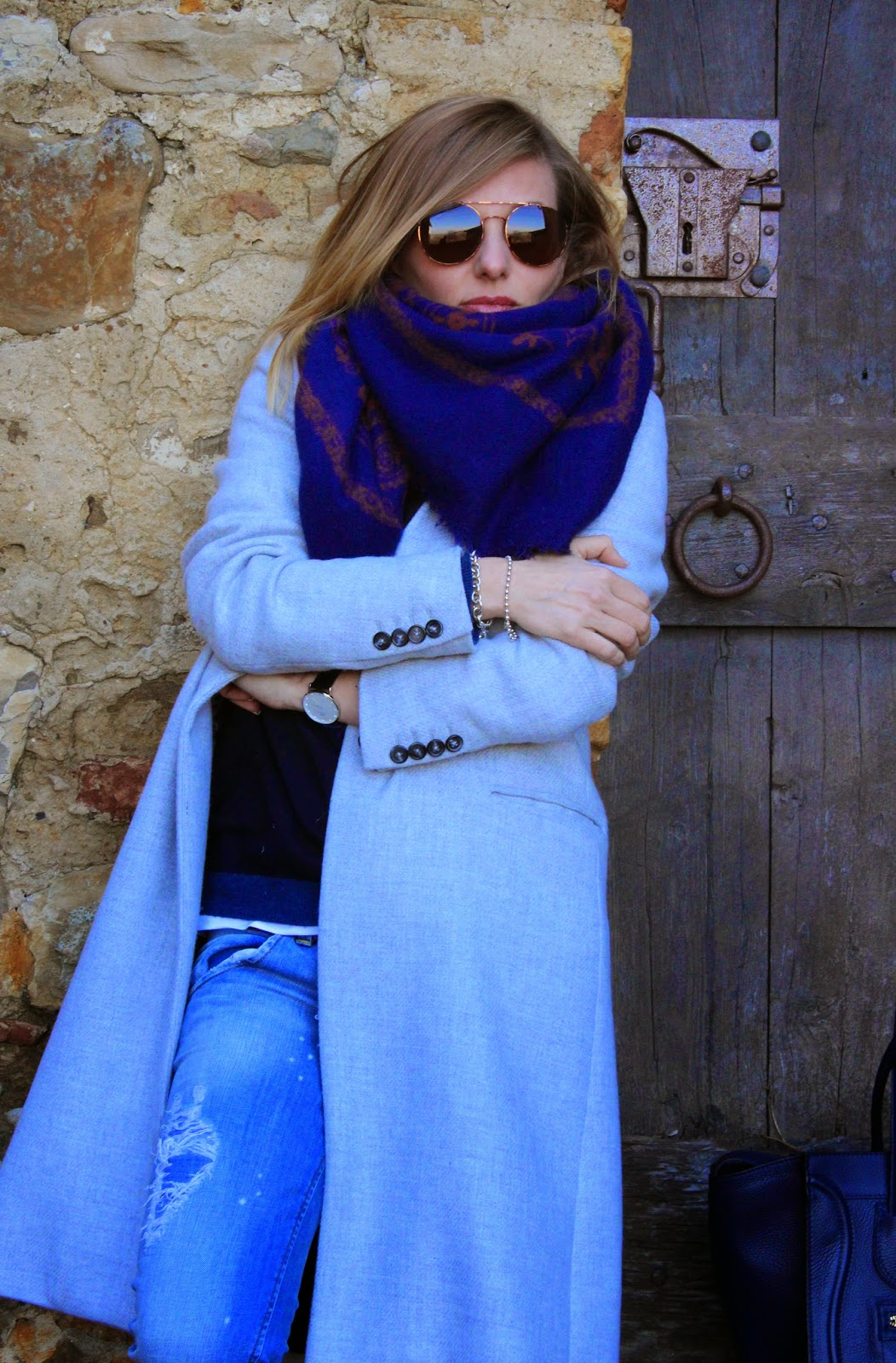 Eniwhere Fashion - Grey coat - Maxi Scarf - Parma