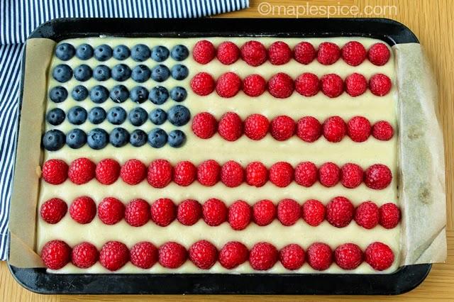 Vegan American Flag Almond Cheesecake and Berry Tart