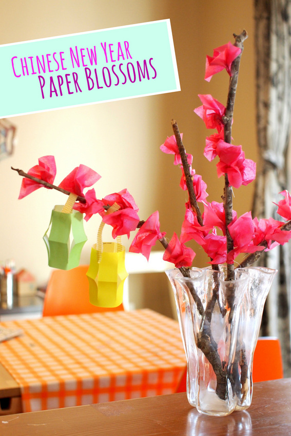 Paper Blossoms For Chinese New Year Pink Stripey Socks