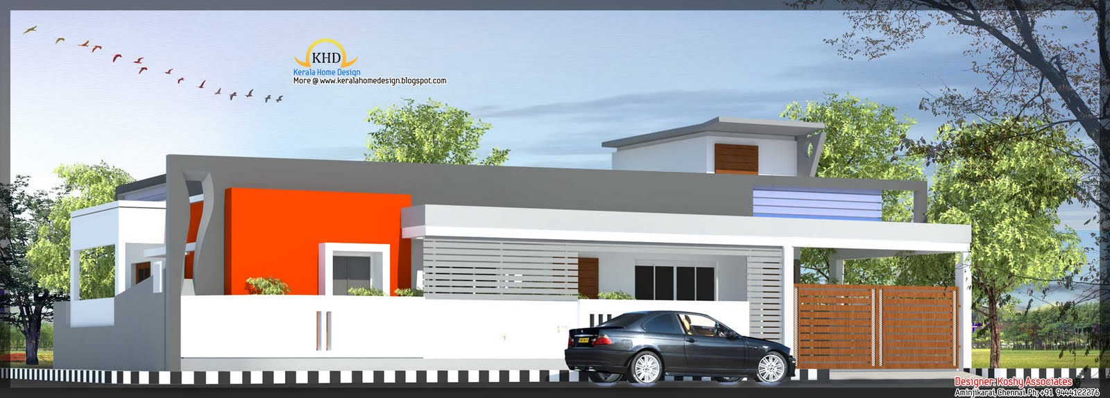 Single floor house plan and elevation 1480 sq ft for Single floor house elevation designs