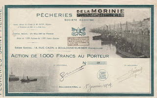 share certificate of the Pêcheries de la Morinie