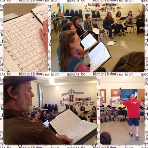 Collage of Stairwell Caroller choir rehearsal