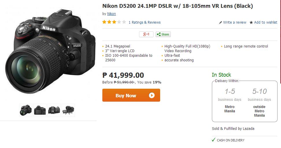 Nikon D5200 24.1MP DSLR w/ 18-105mm VR Lens (Black)