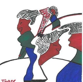 Zeichnung Bild / painting picture : Damen / ladies