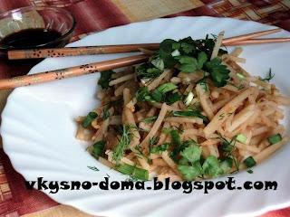 Корейский салат из картофеля.  Камди-ча