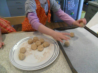 Place the balls of dough onto a tray for honey biscuits.