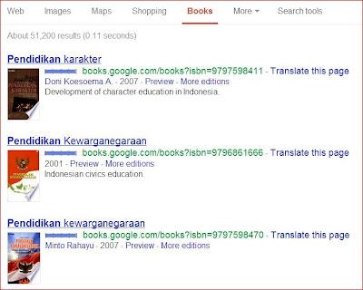 Hasil pencarian buku di Google Books
