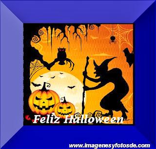 Feliz Halloween con Bruja y Calabazas