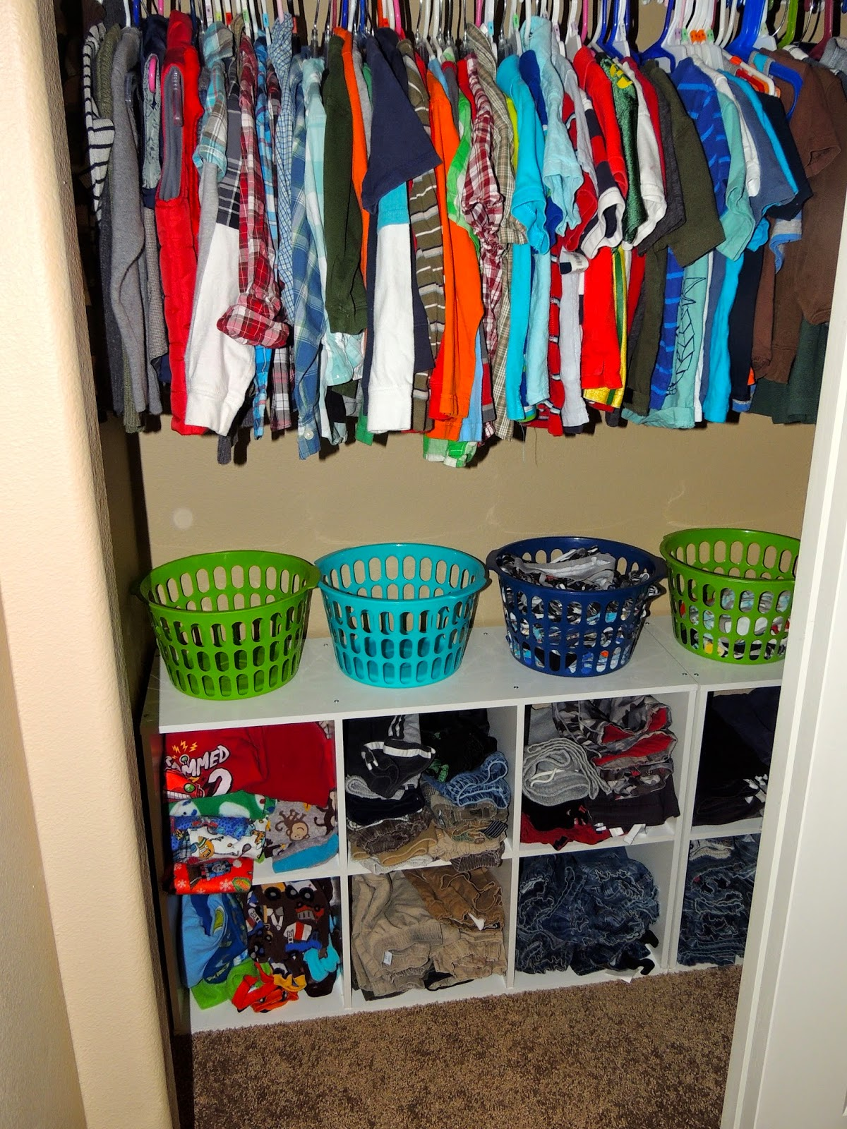 I Have Two Boys Who Share A Room. They Each Have Their Own 6 Cube Storage  Unit For Their Clothes. They Had Enough Width In Their Closet For Me To Lay  Them ...