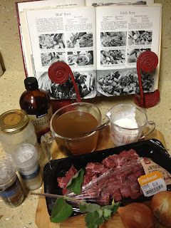 Ingredients for home made beef stew